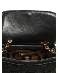 Dolce & Gabbana | Black Mini Dolce Bag Lace Leather Top Handle | Lyst