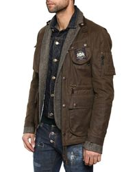 DSquared² - Green Mixed Triple Layer Long Boobou Jacket for Men - Lyst