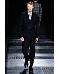 Kris Van Assche - Black Textured Cotton and Wool Trousers for Men - Lyst
