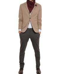 Lanvin | Brown Raw Cut Wool Jersey Jacket for Men | Lyst