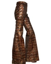 Rochas - Brown 3d Rayon Brocade High Waisted Trousers - Lyst