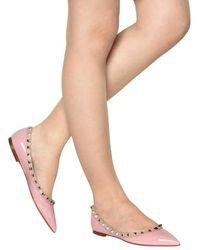 Valentino | Pink 10mm Rock Stud Patent Ballerina Flats | Lyst