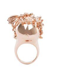 Alexander McQueen - Pink Rose Gold Crystal Butterfly Skull Ring - Lyst