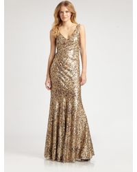 David Meister - Metallic Sequined Gown - Lyst