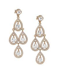 Carolee - Metallic Gold Tone Pave Pear Chandelier Earrings - Lyst