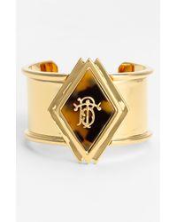 Tory Burch   Gold Wide Monogram Cuff   Lyst