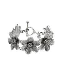 Fossil | Metallic Silver Tone Crystal Flower Station Bracelet | Lyst