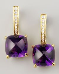 Frederic Sage - Metallic Clip Amethyst Diamond Drop Earrings - Lyst