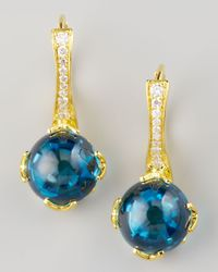 Frederic Sage | Blue Jelly Bean Topaz Diamond Earrings Yellow Gold | Lyst