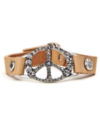 Lucky Brand   Metallic Leather Peace Bracelet   Lyst