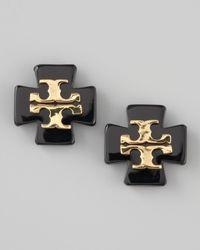 Tory Burch | Black Clover Logo Earrings | Lyst