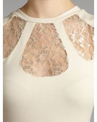 Madam Rage | Beige Madam Rage Lace Insert Fitted Dress | Lyst