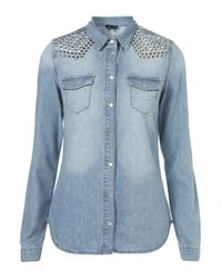 TOPSHOP | Blue Studded Bleach Denim Shirt | Lyst