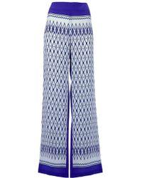 Alberta Ferretti | Blue Wide-leg Printed Silk Pants | Lyst