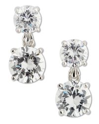 CZ by Kenneth Jay Lane | Metallic Double Roundcut Drop Earrings | Lyst