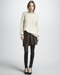 Vince | Natural Pleated Leather Skirt | Lyst