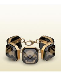 Gucci - Metallic Geometric Crystal Bracelet - Lyst