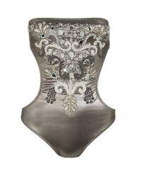 Melissa Odabash | Gray Marbella Embellished Bandeau Swimsuit | Lyst