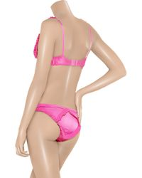 Agent Provocateur - Pink Florine Ruffled Satin Underwired Bra - Lyst