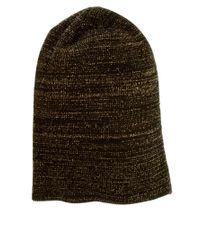 ASOS - Brown Metallic Boyfriend Knit Beanie - Lyst