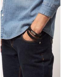 DIESEL - Black Leather Bracelet for Men - Lyst