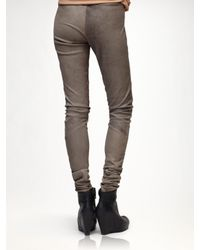 Rick Owens - Gray Leather Legging - Lyst