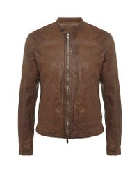 Armani Jeans | Brown Perforated Leather Jacket for Men | Lyst