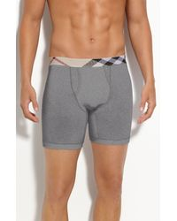 Burberry | Gray Check Trim Boxer Briefs for Men | Lyst