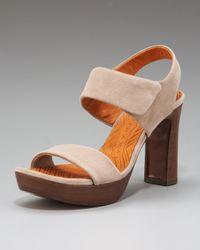 Chie Mihara   Black Cody Suede Slingback Platform Sandals   Lyst