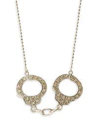 Sydney Evan - Metallic Diamond Handcuff Necklace White Gold - Lyst