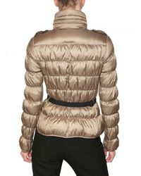 Burberry | Gold Sutherland Belted Technical Satin Jacket | Lyst