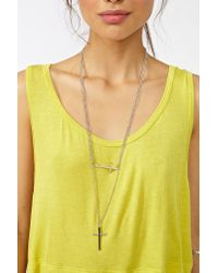 Nasty Gal | Metallic Double Cross Necklace | Lyst