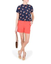 Raoul | Orange Lace Up Cotton Shorts | Lyst