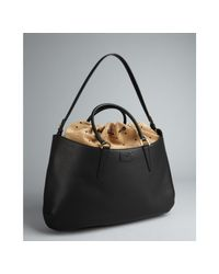Fendi | Black Leather 'B Fab' Gathered Suede Top Large Tote | Lyst