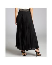 Parker - Black Pleated Maxi Skirt With Beaded Belt - Lyst