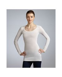 Splendid | White Ivory Stretch Cotton Scoop Neck Long Sleeve Tshirt | Lyst