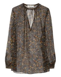Valentino | Black Feather-print Silk Blouse | Lyst