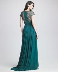 Elie Saab - Blue Lattice Chiffon Gown - Lyst