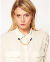 ASOS - Metallic Gem Chain Collar Brooch - Lyst