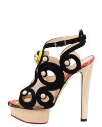 Charlotte Olympia | Black Anastasia Suede and Wooden Sandals | Lyst