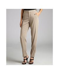 Helmut Lang | Khaki Stretch Woven Cropped Trousers | Lyst