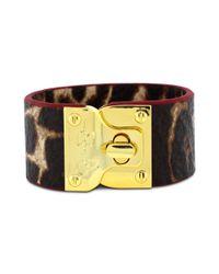 Jessica Simpson | Metallic Gold Tone Leopard Print Turnlock Bracelet | Lyst
