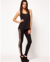 fffc0fbe33a66 ASOS Asos Leggings with Sequin Side Panel in Metallic - Lyst