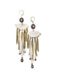 Mango - Metallic Crochet Chains Earrings - Lyst