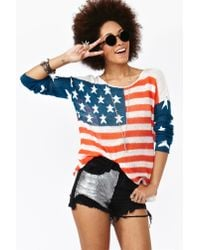 Nasty Gal | Blue Born in The Usa Knit | Lyst