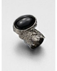 Saint Laurent | Black Antique-Inspired Silvertone Arty Ovale Ring | Lyst