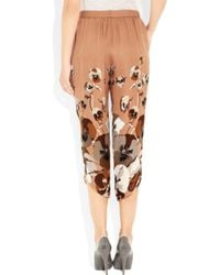 Gucci - Orange Cropped Printed Silk Georgette Pants - Lyst