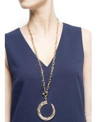 Mango - Metallic Engraved Horn Necklace - Lyst