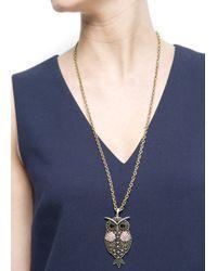 Mango - Gray Owl Pendant Necklace - Lyst