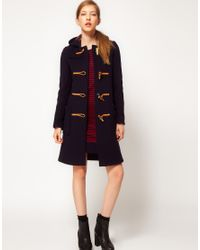 Gloverall - Blue Slim Long Duffle Coat in New Check Back - Lyst